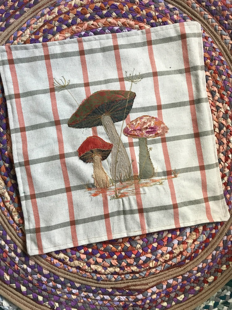 Textile Artwork Mushroom Cushion