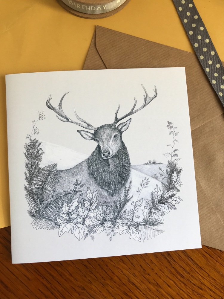 Pack of 5 stag cards