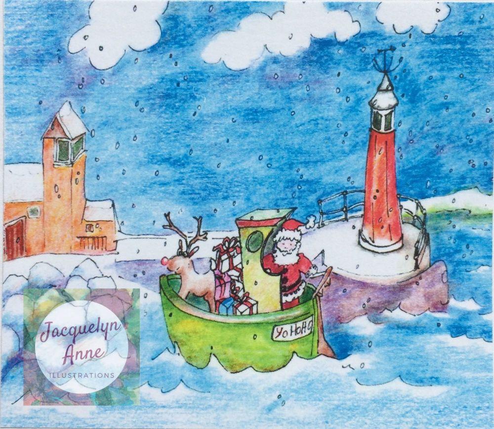 Santa arriving by boat to Watchet Greetings Card