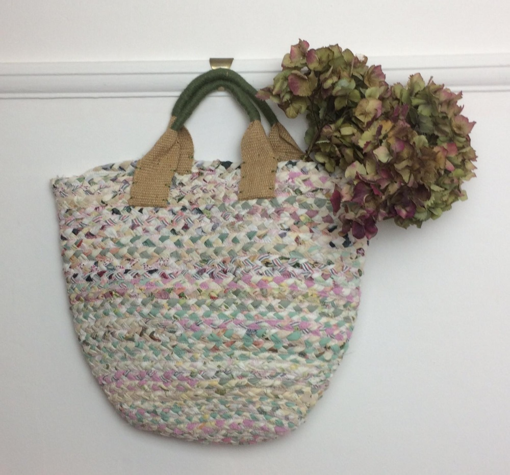 Pink and green recycled fabric basket