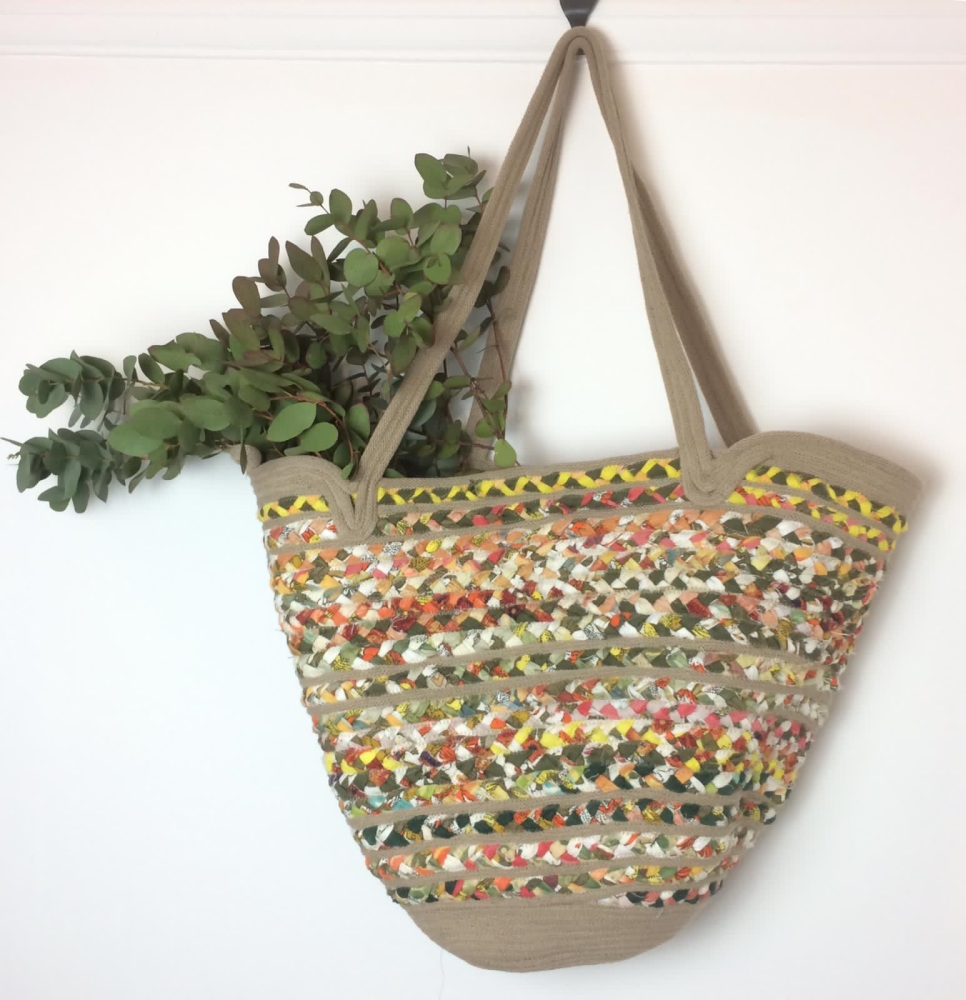 Retro yellows and orange recycled fabric basket