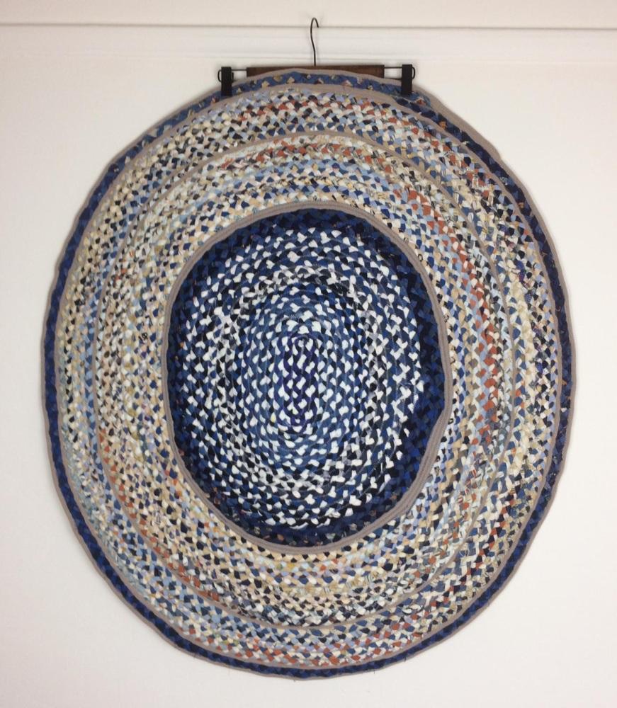 Blue and caramel beige rug large