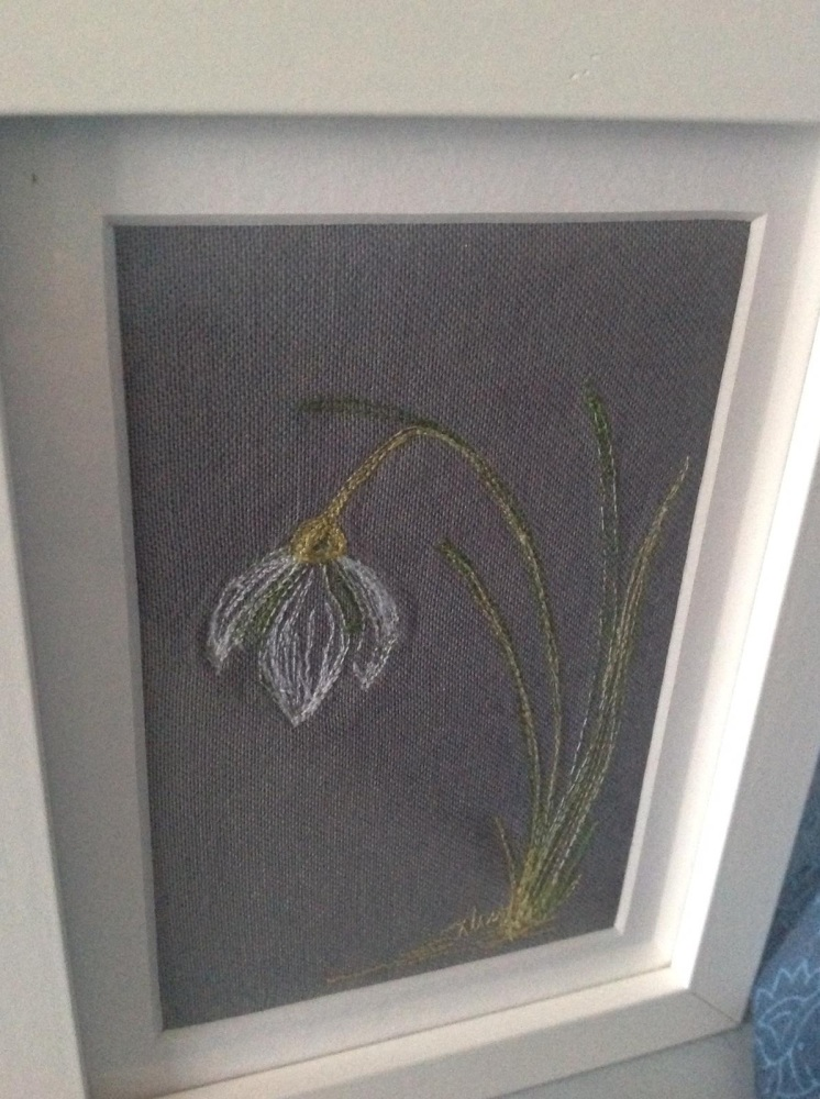 Snowdrop embroidered original picture