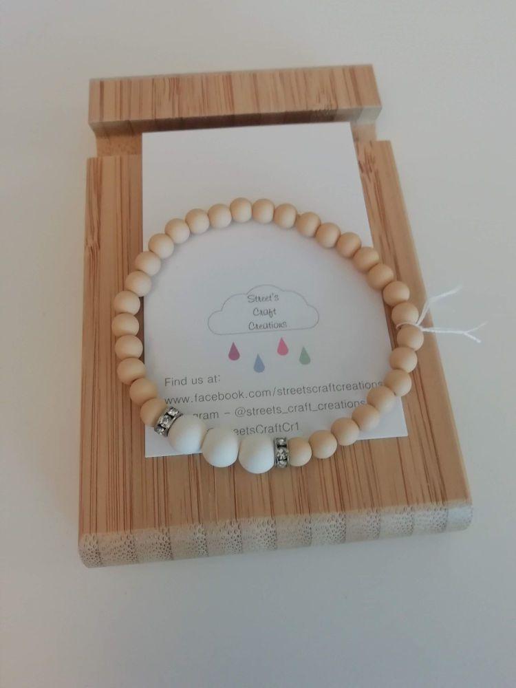 White & Sand Acrylic Beaded Bracelet