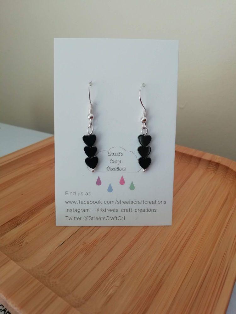Hematite Gemstone Heart Earrings