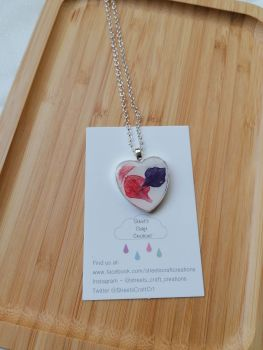 Floral Heart Resin Necklace