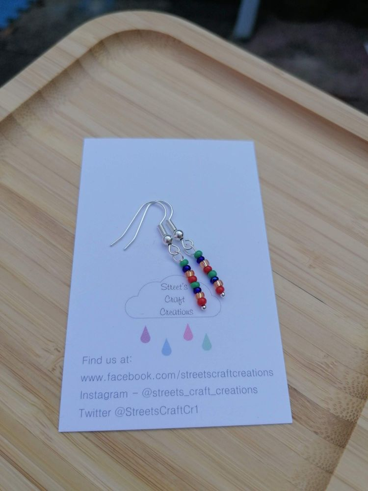 Colour Pop Earrings (Green, Blue, Gold & Red)