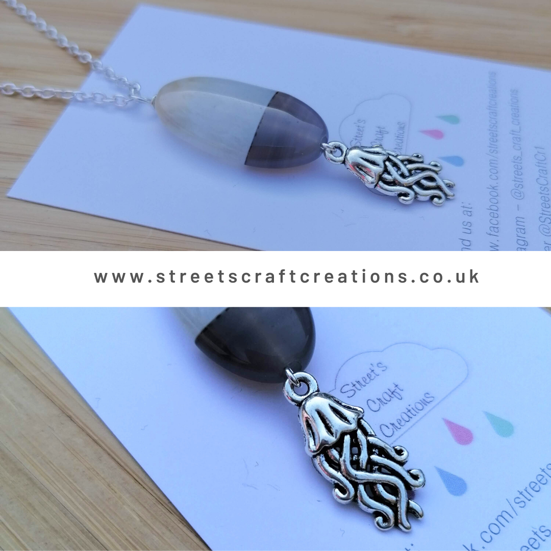 Banded Onyx & Jellyfish Charm Necklace