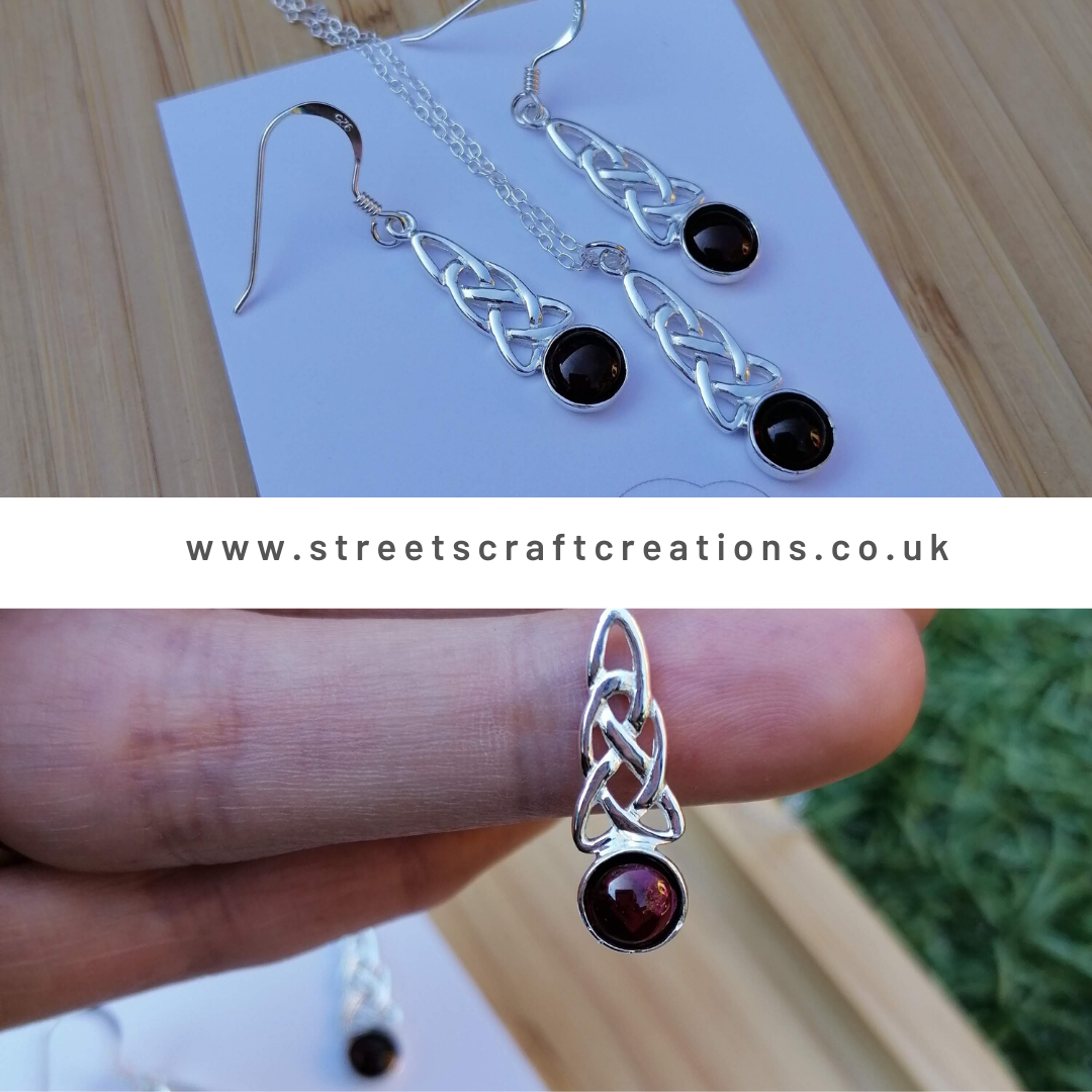 Sterling Silver & Garnet Celtic Set