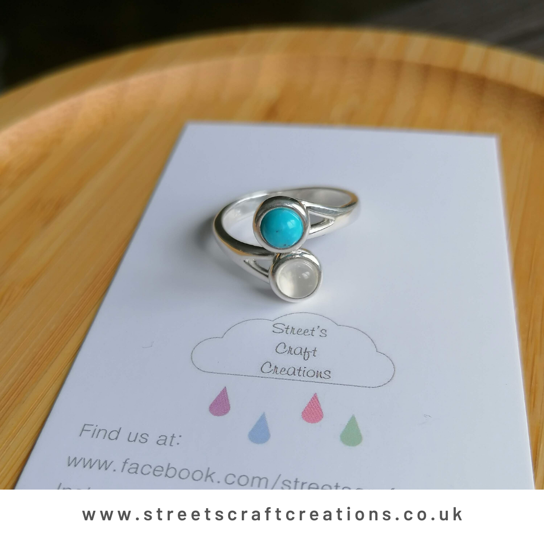 Moonstone & Turquoise Sterling Silver Ring