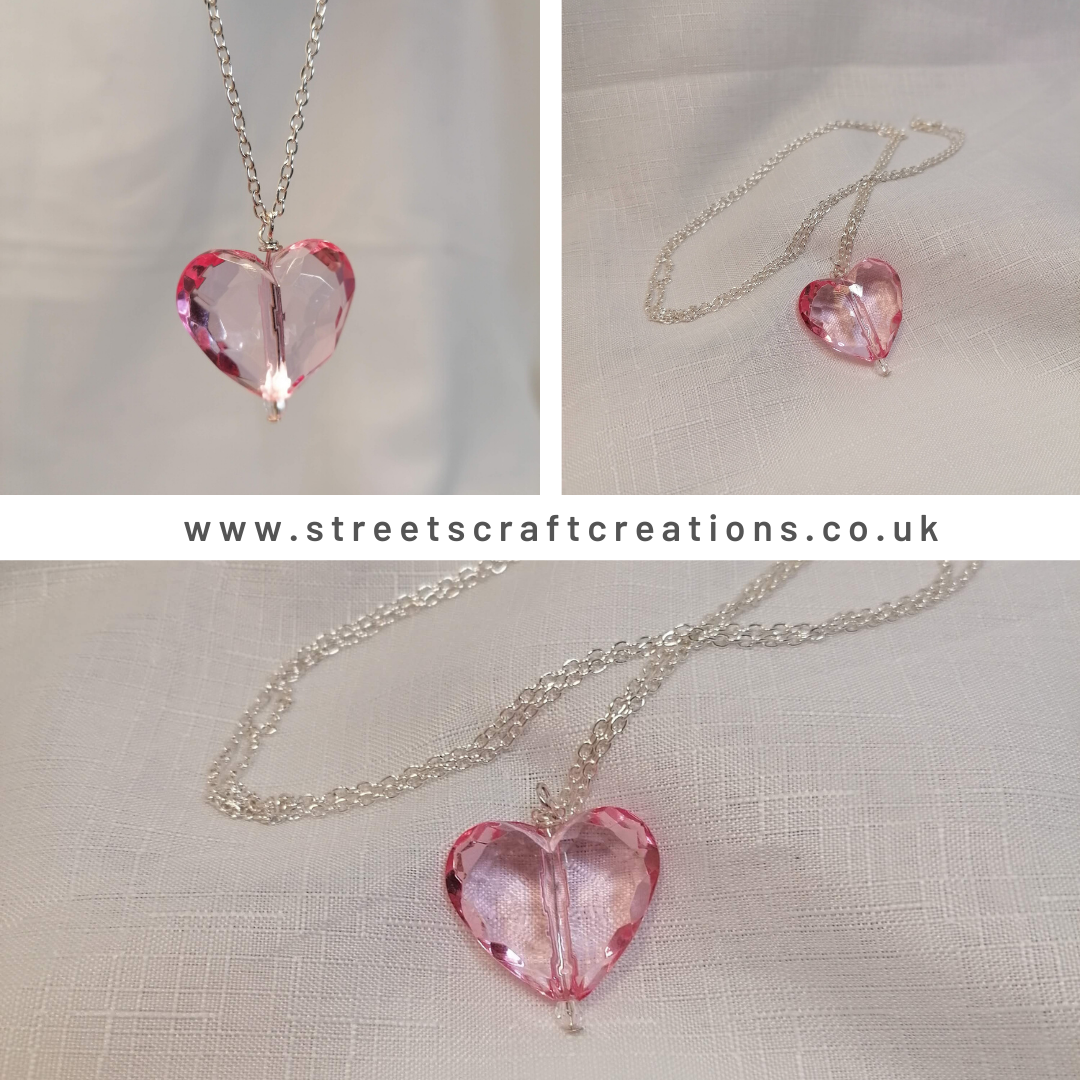 Large Acrylic Pink Heart Necklace