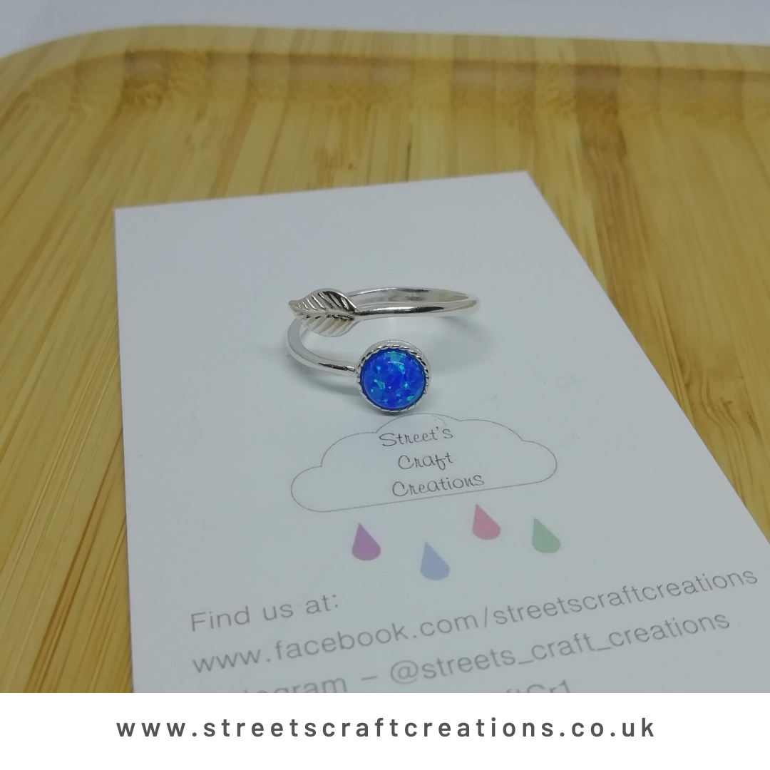 Ocean Blue Created Opal Sterling Silver Ring