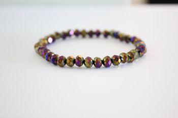 Crystal Beaded Bracelet in Peacock