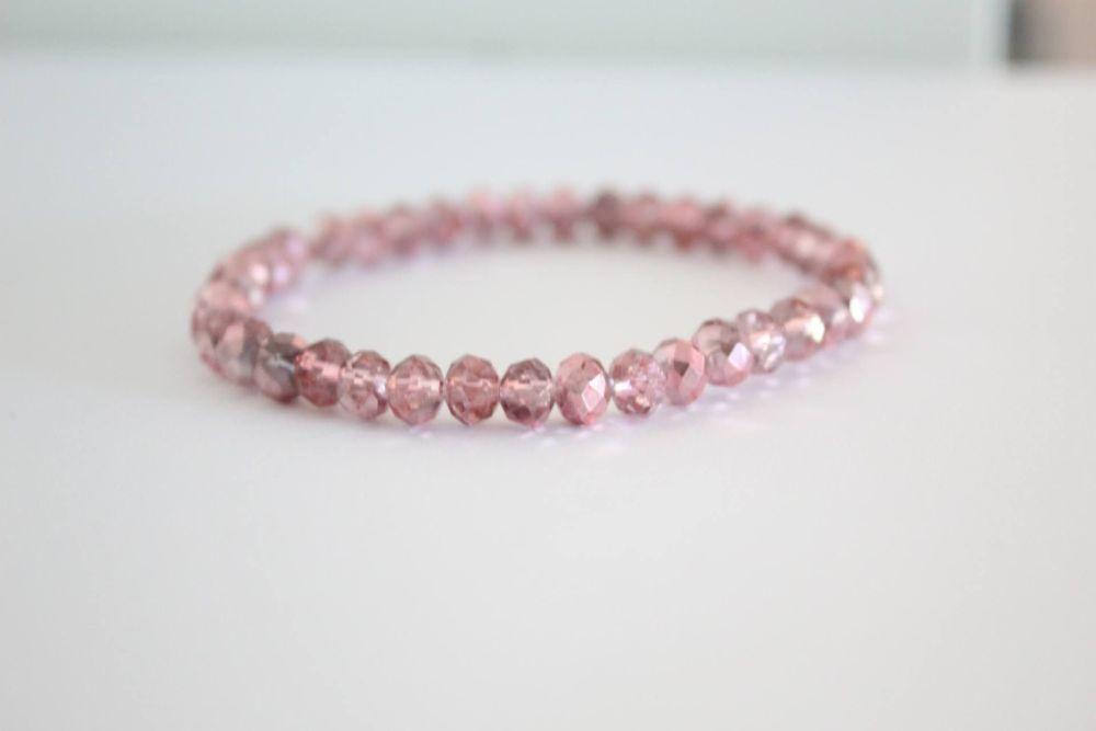 Crystal Beaded Bracelet in Pink