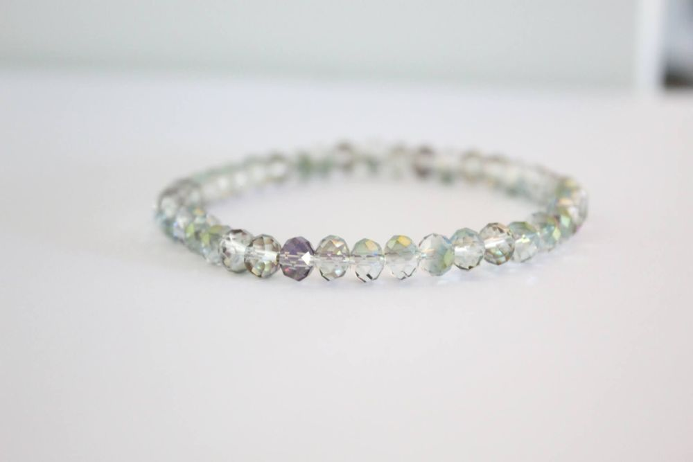 Crystal Beaded Bracelet in Clear Rainbow