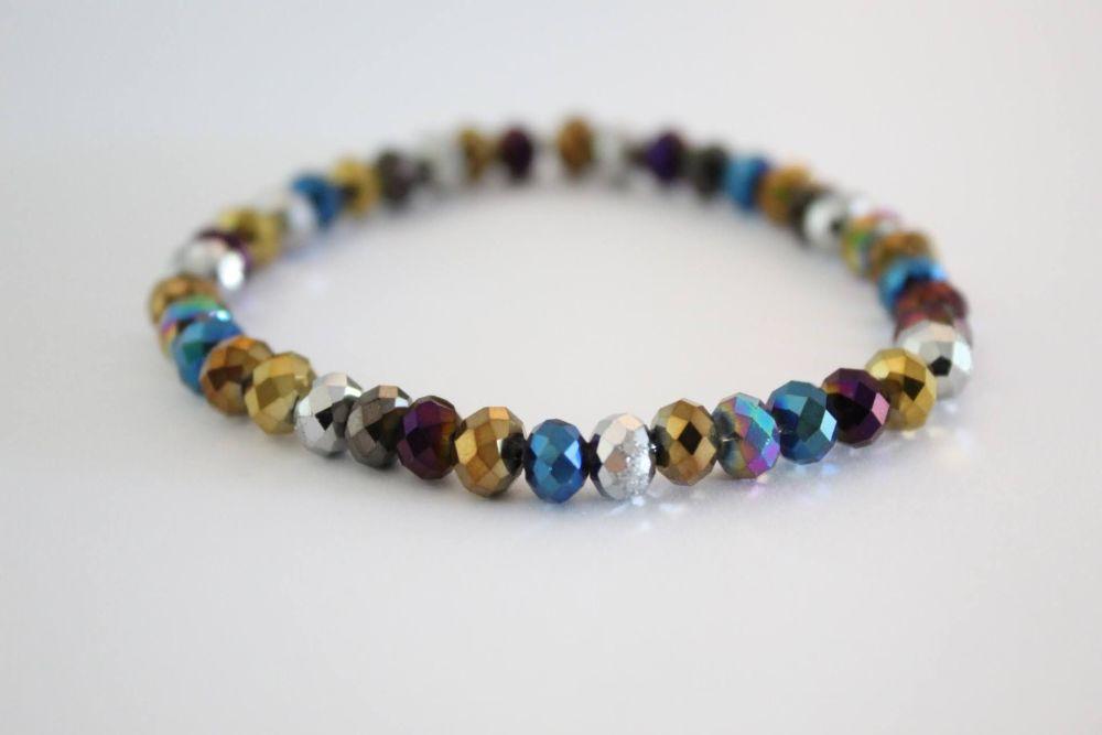 Crystal Beaded Bracelet in Rainbow