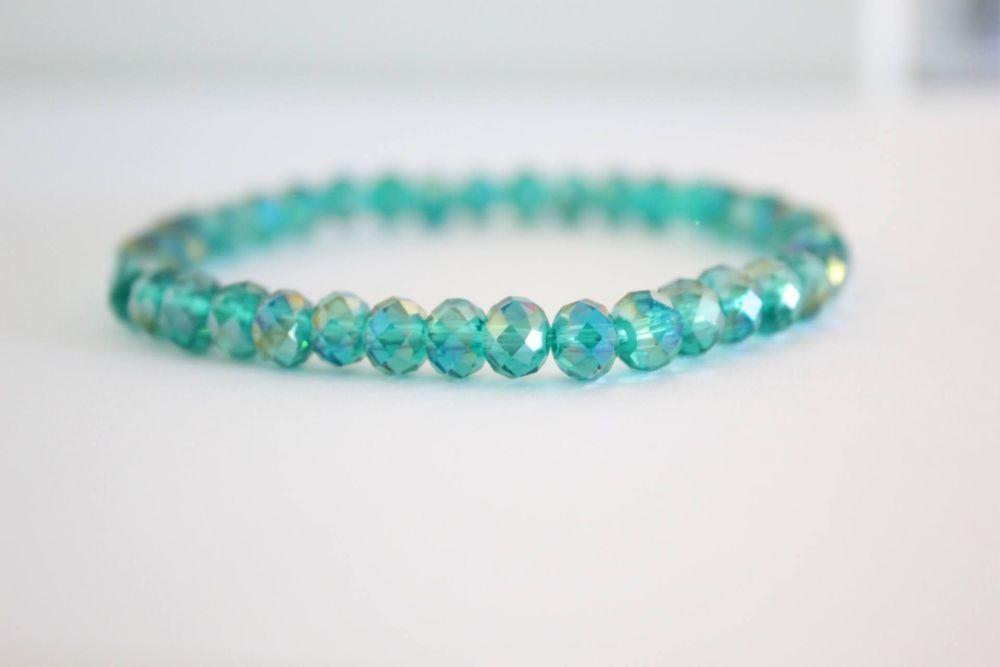 Crystal Beaded Bracelet in Teal