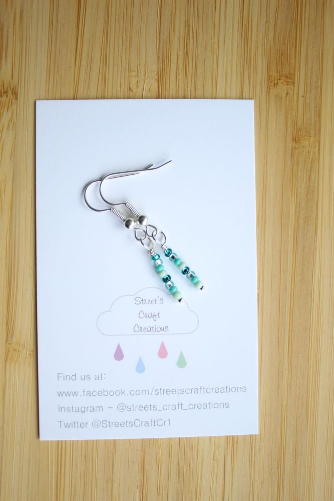 Colour Pop Earrings in Teal Green mix
