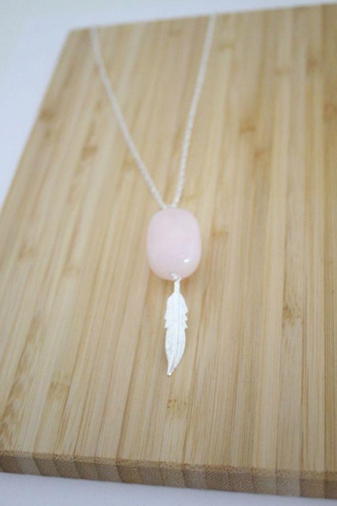 Rose Quartz Feather Necklace