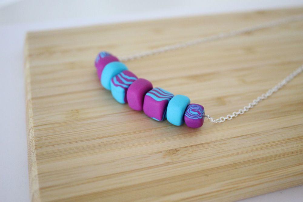 Pink & Aqua Clay Mix Necklace