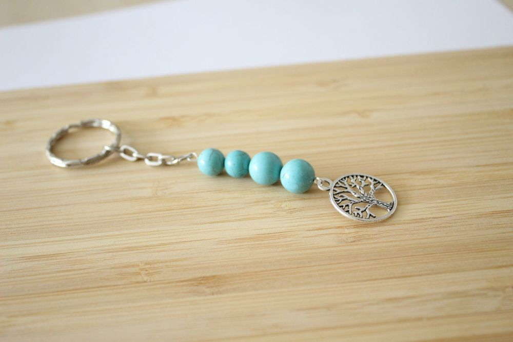 Turquoise Gemstone Tree of Life Key Chain