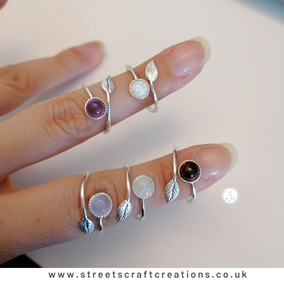 Adjustable Gemstone Rings by Streets Craft Creations