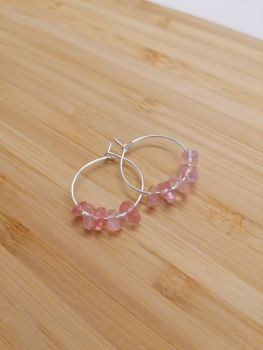 Cherry Quartz Gemstone Chip Hoops