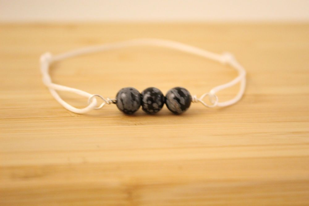 Snowflake Obsidian Beaded Cord Bracelet