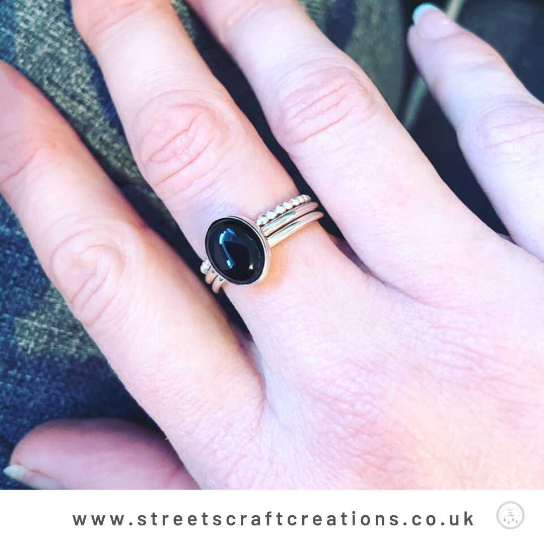 Black Onyx Sterling Silver Stacking Set by Street's Craft Creations