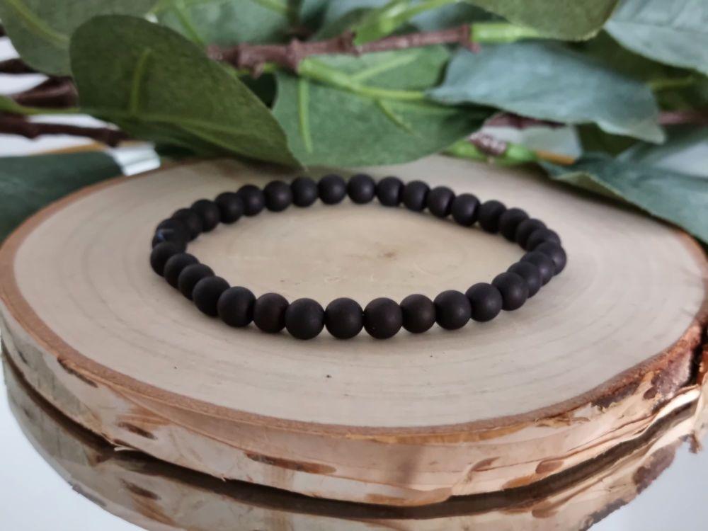 Acrylic Beaded Bracelet (Black)