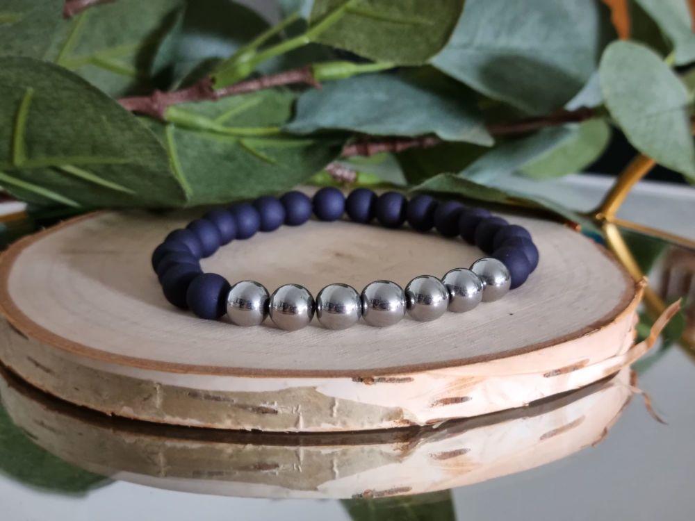 Hematite & Acrylic Beaded Bracelet in Indigo