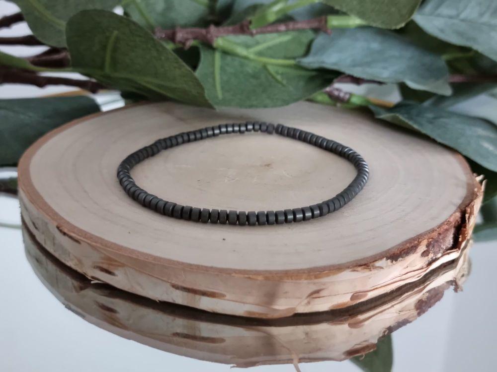 Hematite Wheel Bead Bracelet