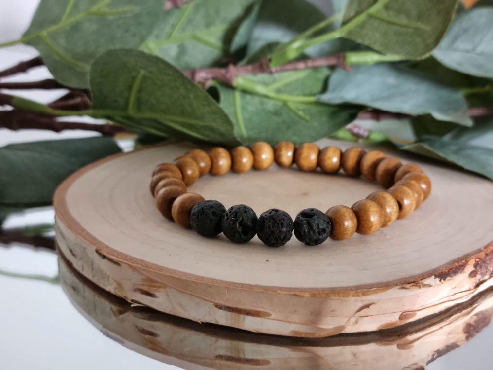 Lava Stone & Wood beaded bracelet