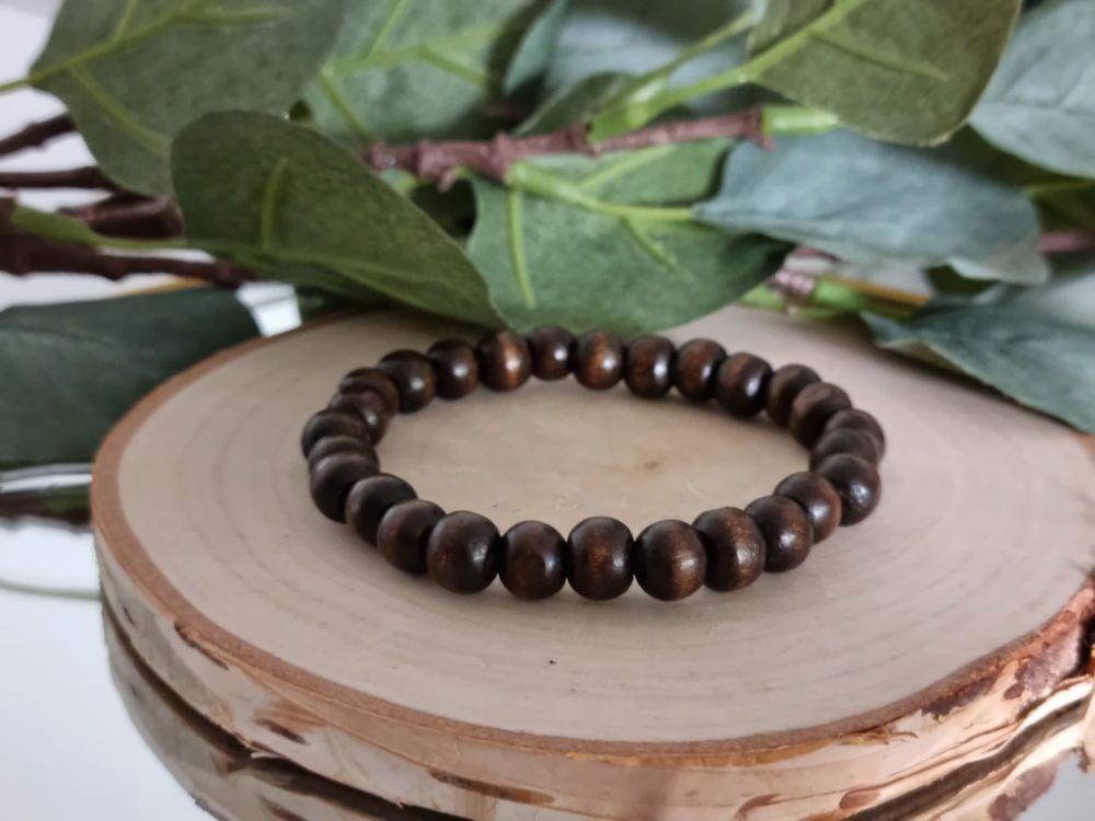 Wood Beaded Bracelet (Dark)