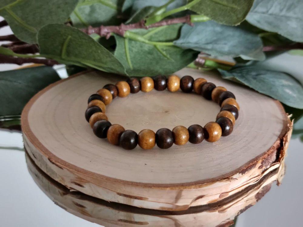 Wood Beaded Bracelet (Light/dark)