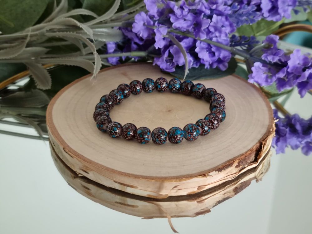 Deep Brown and Turquoise Glass Bracelet