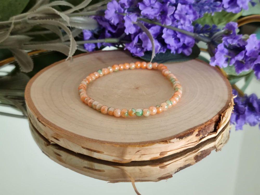 Peach & Green Glass Beaded Bracelet