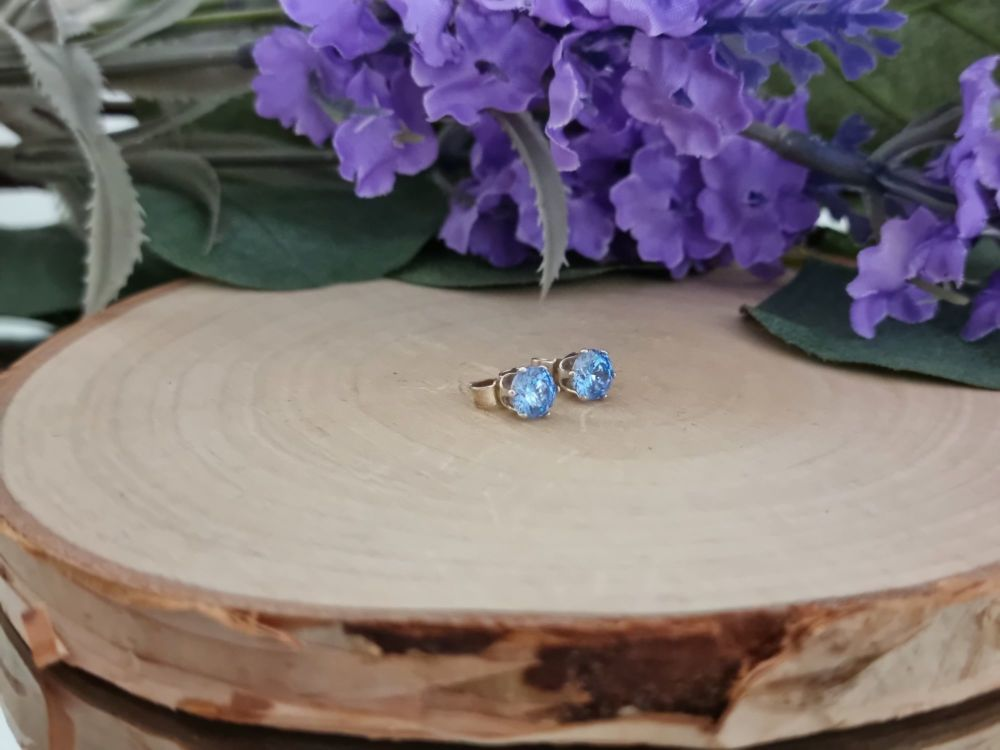 Crystal Studs in Blue