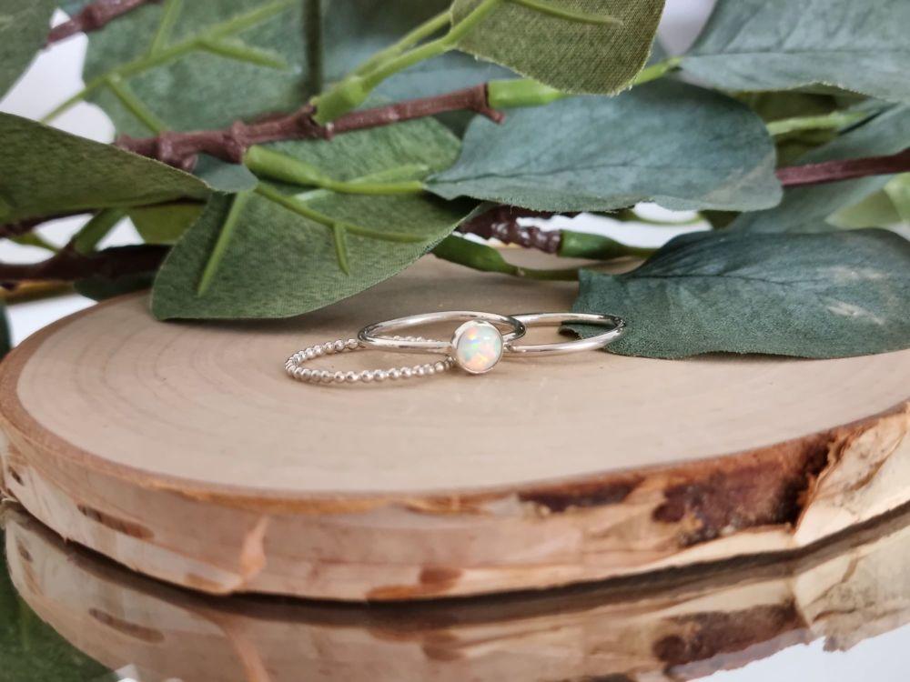 Gemstone Stacking Ring Set (Round)