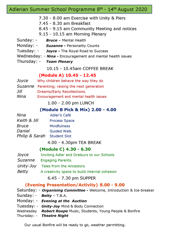 Overview of the Weeks Programme