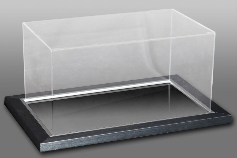 Acrylic Display Case Ideal for Boots/Gloves Black & Silver With A Mirror Ba