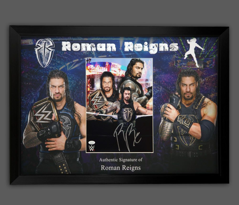 Roman Reigns Hand Signed And Framed Wrestling Photograph In A Framed Presen