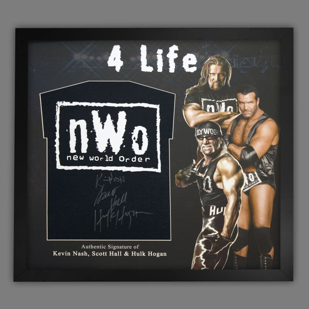 Hulk Hogan, Kevin Nash And Scott Hall, NWO  Hand Signed T Shirt In A Frame