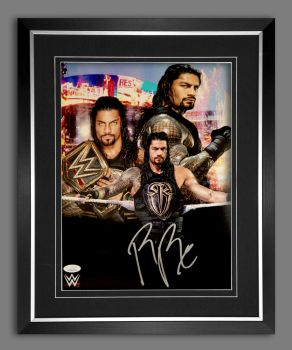 Roman Reigns Hand Signed Wrestling Photograph in a Frame