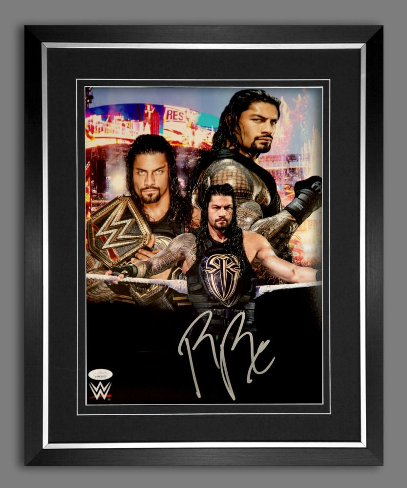Roman Reigns Wrestling Photograph In A Frame.