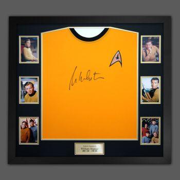 William Shatner Hand Signed Replica Star Trek Shirt in a Framed Presentation