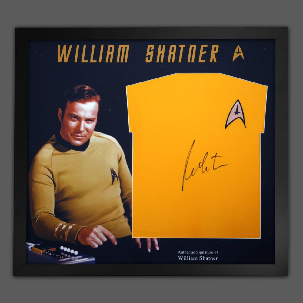 William Shatner Hand Signed Replica Star Trek Shirt In A Frame Presentation