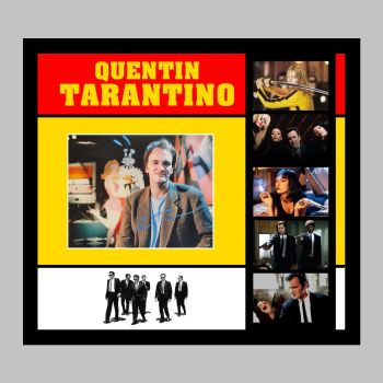 """Quentin Tarantino Hand Signed 10x8"""" Photograph in a Framed Presentation"""