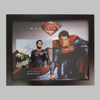 """Henry Cavill Hand Signed Superman 10x8"""" Photograph in a Framed Presentation"""