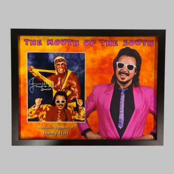 """Jimmy Hart Hand Signed Wrestling 10x8"""" Photograph in a Framed Presentation No.2"""
